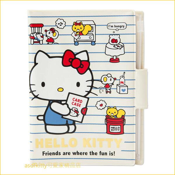 asdfkitty可愛家☆KITTY藍條紋多功能收納夾證件夾-放手冊.護照.存摺-母子手帳本-日本正版商品