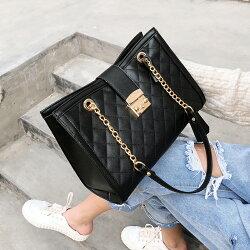 鍊條包-高質感小香風名媛風 菱格鍊條單肩/側背包(黑色)-AINIREN輕奢時尚包款(現貨+預購)