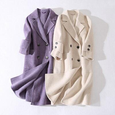 毛呢外套羊毛大衣-純色中長款雙面羊毛呢女外套3色73ty4【獨家進口】【米蘭精品】