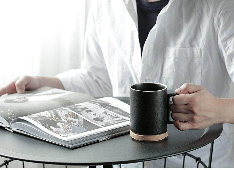 店長推薦★黑砂釉原創設計黑色陶瓷帶蓋馬克杯~ 領券下定更優惠