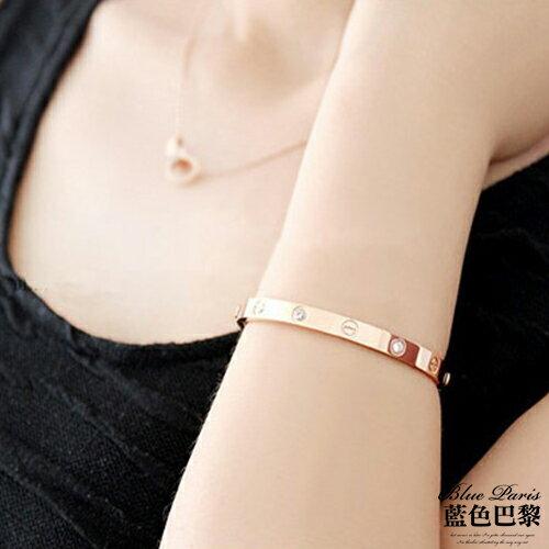 手鍊 - 韓版 時尚流行鈦鋼玫瑰金晶鑽手鐲【21508】現貨商品《2色》 藍色巴黎