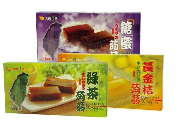 買9送3 特惠 大熊健康 蒟蒻條^(綠茶 黑糖 金桔^) 8條  盒 可混搭 請註明