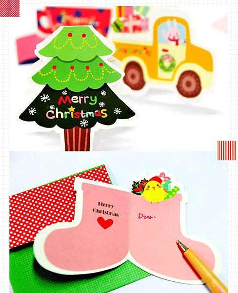 =優生活=2015 聖誕卡片 可愛創意卡片 聖誕老公公 耶誕樹 聖誕襪 聖誕節禮物 10張入