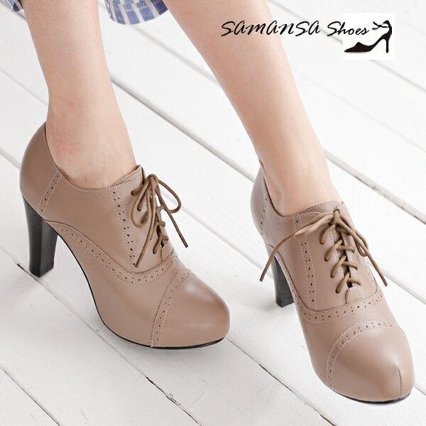 samansa莎曼莎手工鞋:[SAMANSA]MIT全真皮英倫學院風格內增高牛津短踝靴#14404可可灰