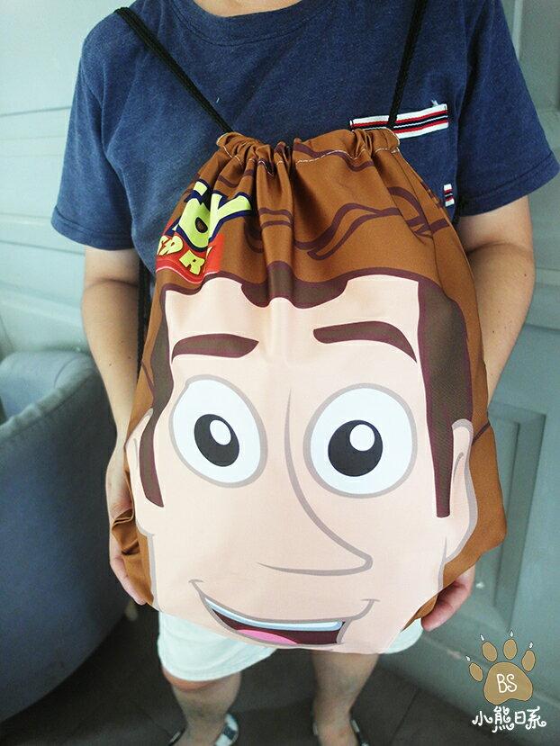 小熊日系*大臉胡迪後背包束口袋 玩具總動員收納包收納袋外出袋旅行袋 Toy story 牛仔