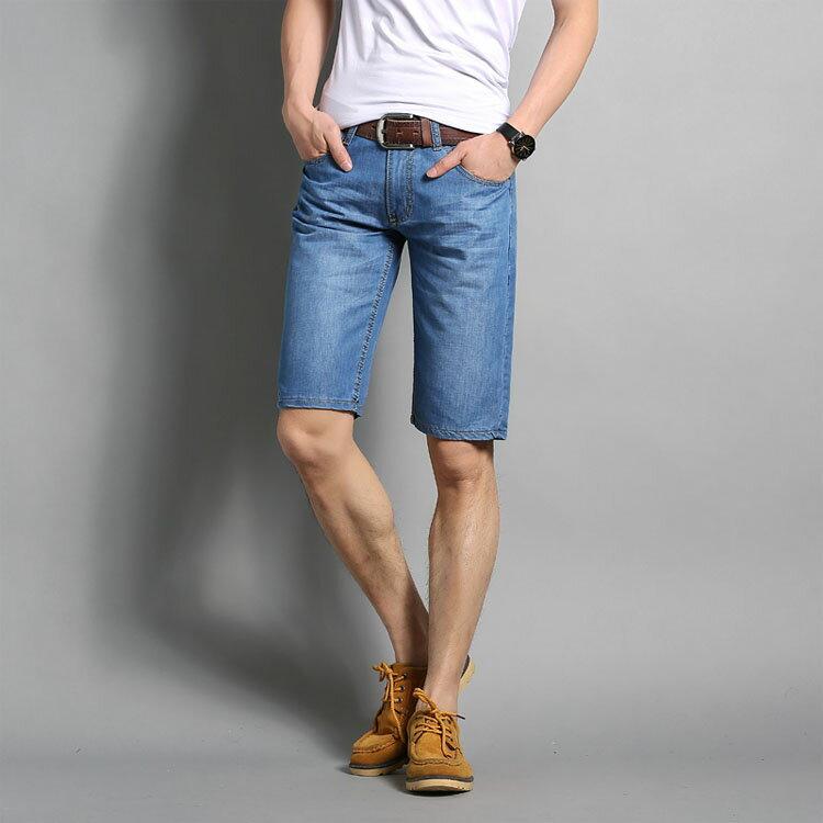 經典潮流素色簡約百搭休閒牛仔短褲 1