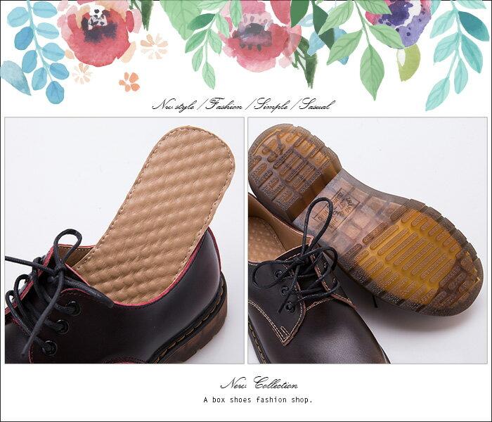 格子舖*【KMC03G】41-44加大尺碼 專櫃款3孔高質感全牛皮 漸層復古色澤 超耐磨透明牛筋底 馬汀靴 馬丁鞋 休閒皮鞋 2色 3