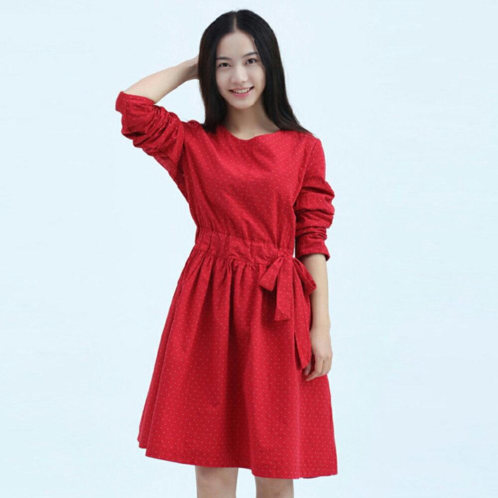 文藝復古小清新寬鬆棉麻連身裙(紅色S~2XL)【ORead】