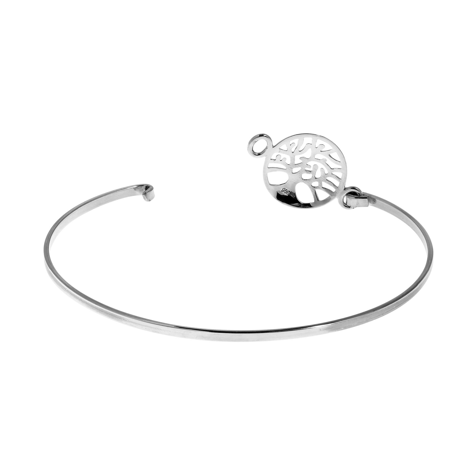 Mystical Tree Of Life .925 Sterling Silver Bangle Bracelet (Thailand) 3