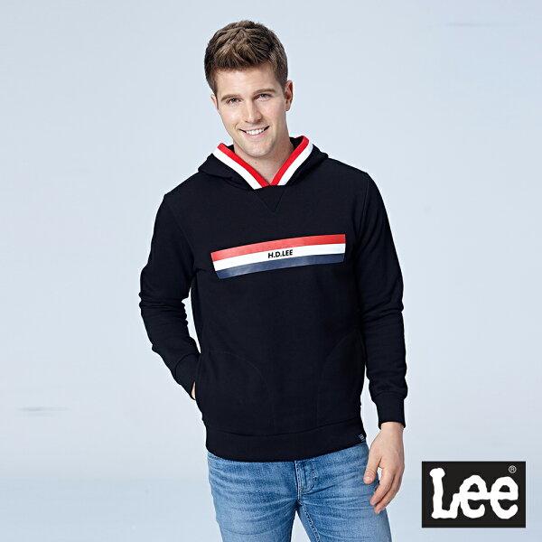 Lee條紋細節長袖連帽厚TEERG-黑色-男款