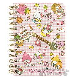 〔小禮堂〕Sanrio大集合 日製線圈筆記本《B7.粉.格紋.愛心.玩具》