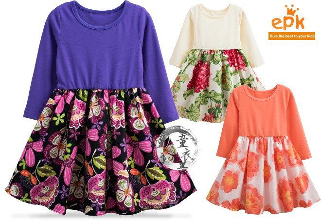 童衣圓【AG141】AG141氣質混色洋裝 epk 長袖 淑女 軟綿 印花 綁帶 蝴蝶結 傘狀 連身裙~90-140