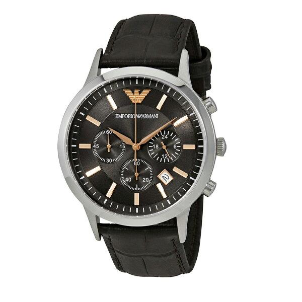 美國百分百【EmporioArmani】配件EA手錶腕錶男錶AR2513不鏽鋼三眼計時皮革咖啡J039