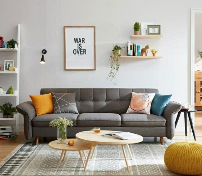「樂天優選」沙髮 北歐簡約現代沙髮床小戶型布藝沙髮三人客廳整裝傢俱1012