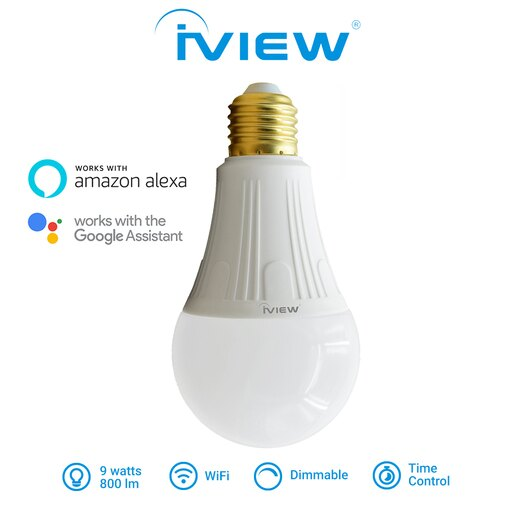 ISB800 - Affordable 9W, 800 - 850lm, 85V - 265VAC, E27/E26 Smart Multi-Color LED WiFi Light Bulb with Wireless Remote App Control from Anywhere, No Hub Required, Amazon Alexa and Google Assistant Compatible