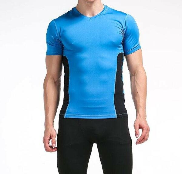 FINDSENSEMD日系時尚男高彈力緊身運動短T上衣訓練服跑步健身T恤短袖T恤拼色短T