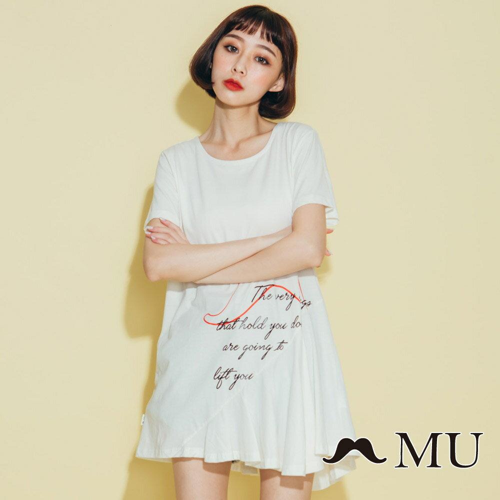 【MU】鬍子印花長版裙襬上衣(2色)8321362 0