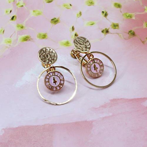 (預購+現貨)愛麗絲時鐘夾式耳環(螺旋夾)針式2色【2-18025】