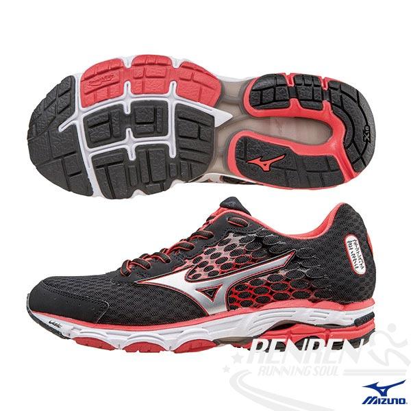 MIZUNO 美津濃  WAVE INSPIRE 11(W) WIDE 女慢跑鞋(黑*銀) 2015新款 暢銷支撐型鞋款