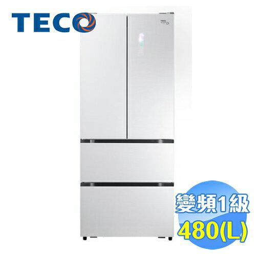 東元 TECO 480公升玻璃面板下冷凍四門變頻冰箱 R4801DTXW