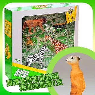 【MOJO FUN 動物模型】野生動物五件組 公獅+長頸鹿+斑馬+小獅子+非洲鬣狗(387302)-精裝禮盒