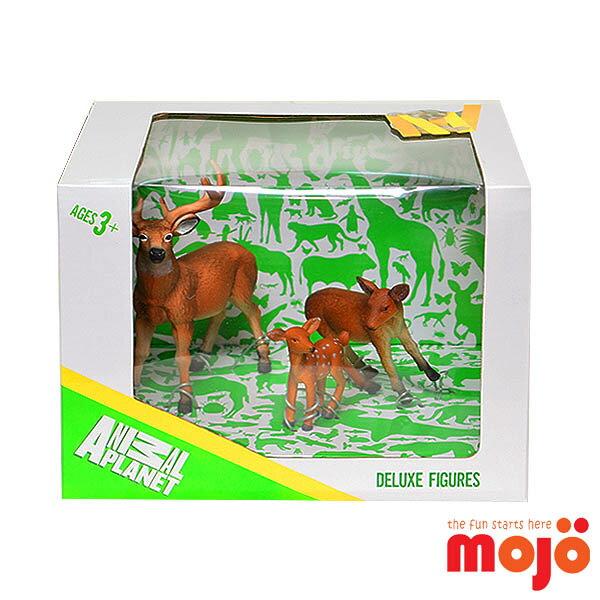 【MOJO FUN 動物模型】鹿家族三件組 (387331)-精裝禮盒