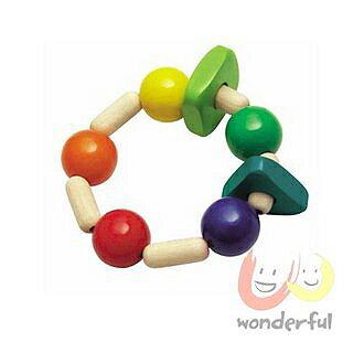 【Selecta 木製遊戲玩具】彩色咬握木環 BCST0001