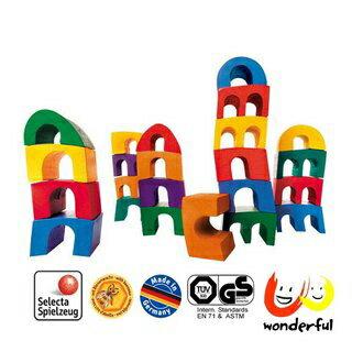 【Selecta 木製遊戲玩具】彩虹斜塔疊高高 BCST0012
