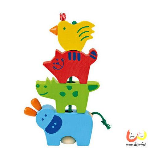 【Selecta 木製遊戲玩具】布萊梅音樂家串繩積木 BCST0104