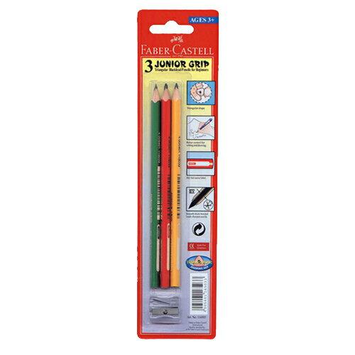 【Faber-Castell 輝柏繪畫系列】大三角鉛筆(3支入+削筆器) 116503