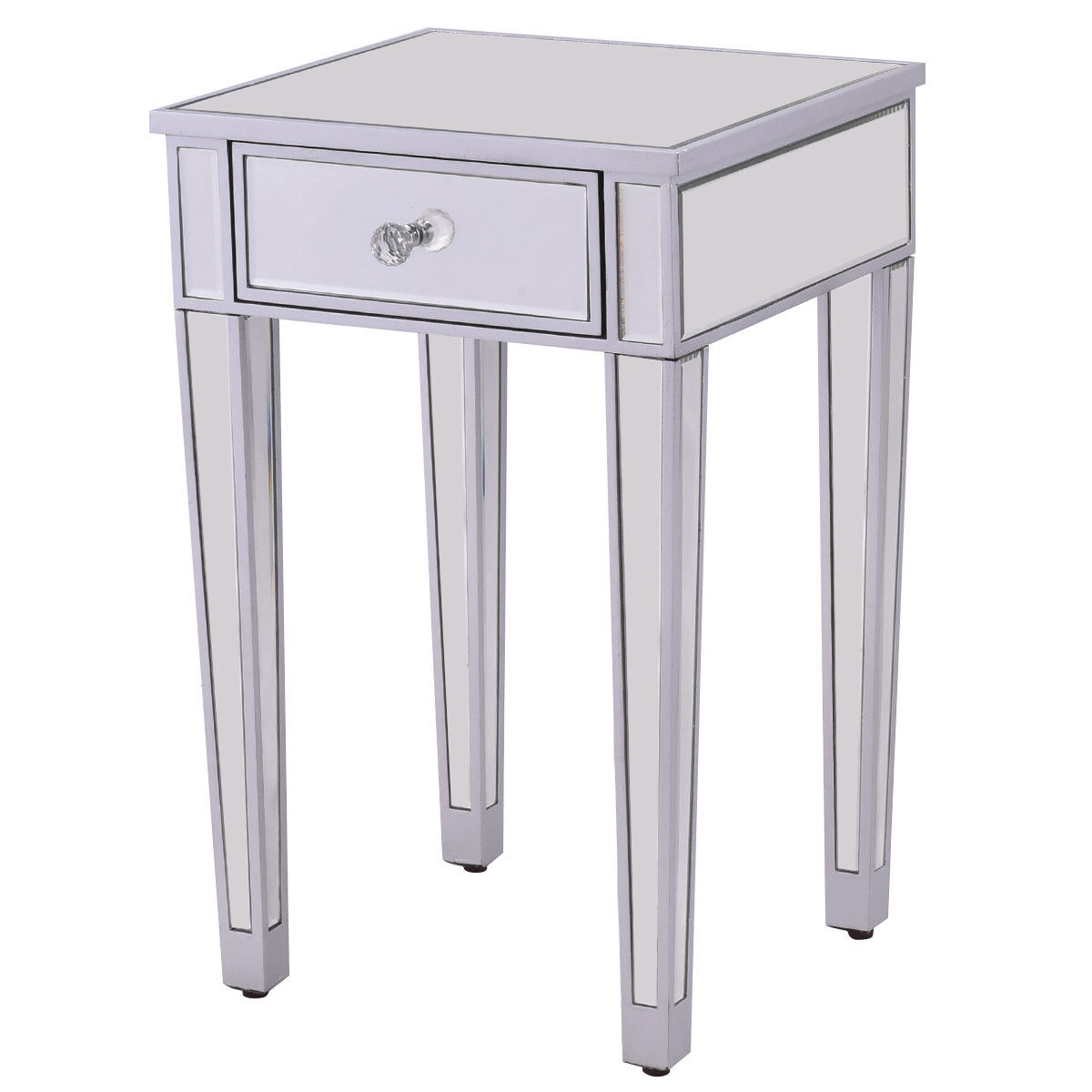 fascinating Mirrored Accent Table With Drawer Part - 2: Costway 2 PCS Mirrored Accent Table Nightstand End Table Storage Cabinet  Drawer 5