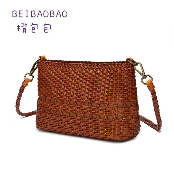 【BEIBAOBAO】手工牛皮編織側背包(共三色焦糖咖奶茶棕混色)