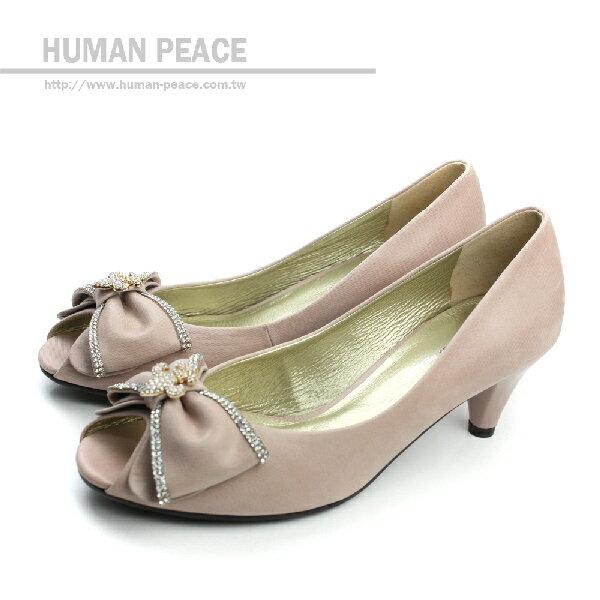 <br/><br/>  HUMAN PEACE 皮革 舒適 蝴蝶結 水鑽 好穿脫 高跟 戶外休閒鞋 粉色 女鞋 no159<br/><br/>