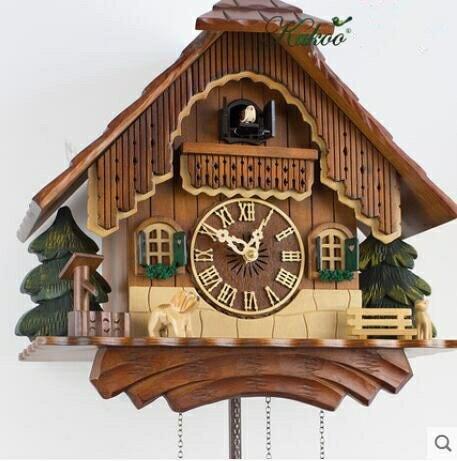 樂天優選 快速出貨 小房子鐘實木音樂布穀鳥掛鐘時尚創意歐式美式創意靜音石英掛鐘K9012