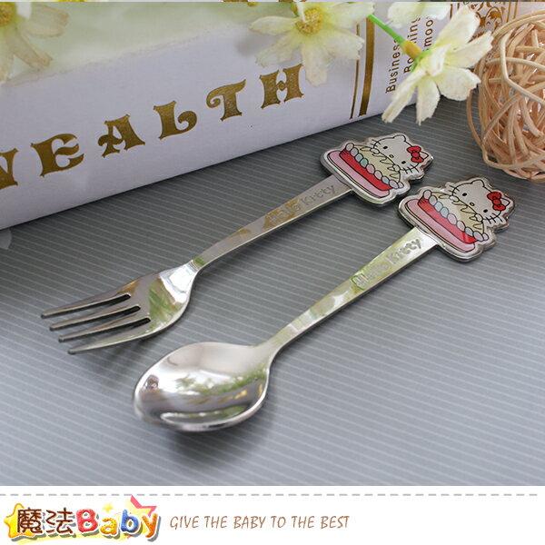 兒童叉匙餐具組Hellokitty授權正版無毒304不鏽鋼魔法Baby~a70153