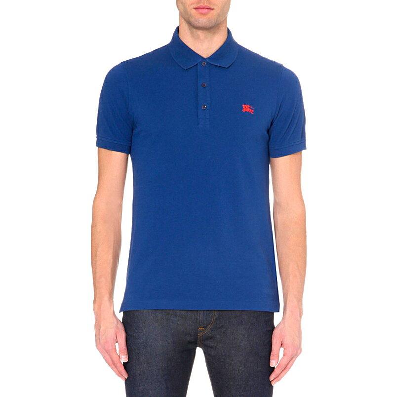 美國百分百【全新真品】Burberry 短袖 polo衫 素面 上衣 戰馬 logo 英倫 精品 寶藍色 XS號 J696