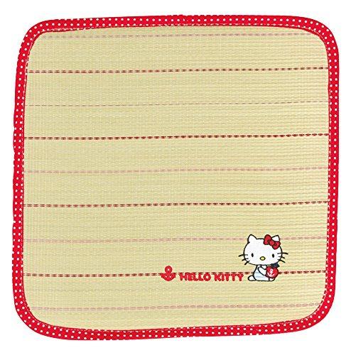 X射線【C655437】Hello Kitty 草蓆坐墊40x40cm-紅條紋,寢室用品/床/床被/涼爽/夏天/環保節能/地墊/腳踏墊/床墊