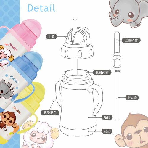 MoliFun魔力坊 不鏽鋼真空兒童吸管杯 / 學習杯260ml-俏皮猴 5