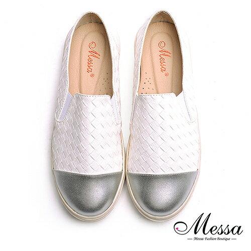 ~Messa米莎專櫃女鞋~MIT休閒拼接編織內真皮厚底懶人鞋~白色