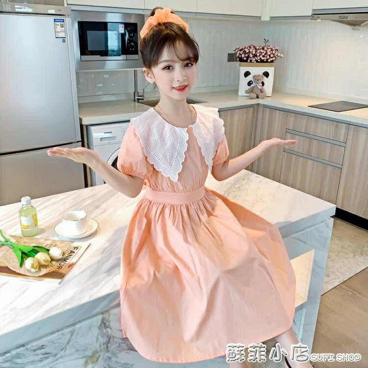 女童洋裝2021夏裝新款韓版7歲8洋氣小女孩純棉兒童短袖公主裙子