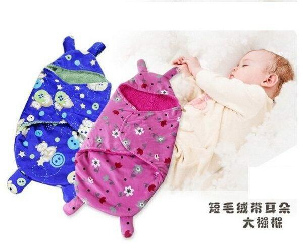 聰明包巾秋冬款雙層短毛絨懶人嬰兒包巾嬰兒睡袋RF10612好娃娃