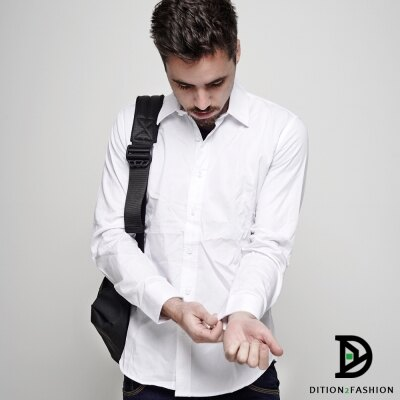 DITION 經典職人FIT腰身素色長袖襯衫 商務紳士 0