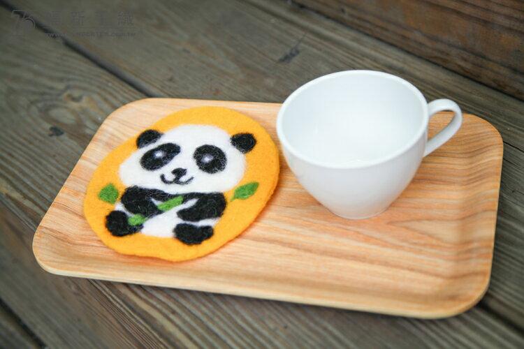 羊毛氈材料包-熊貓針氈杯墊