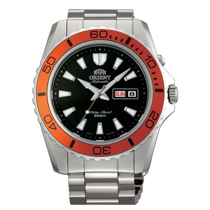 Orient 東方錶(FEM75004B)經典潛水機械腕錶/黑面橘框44.5mm
