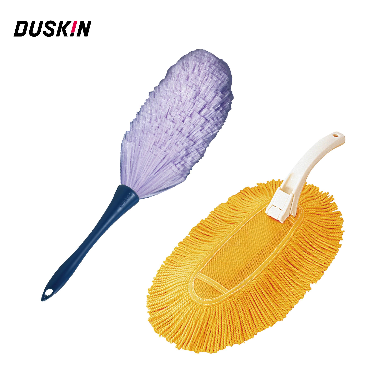 DUSKIN 除塵乾抹布+防靜電撢子 集塵效果絕佳 不產生靜電不揚塵 含把手 除塵達人組 2