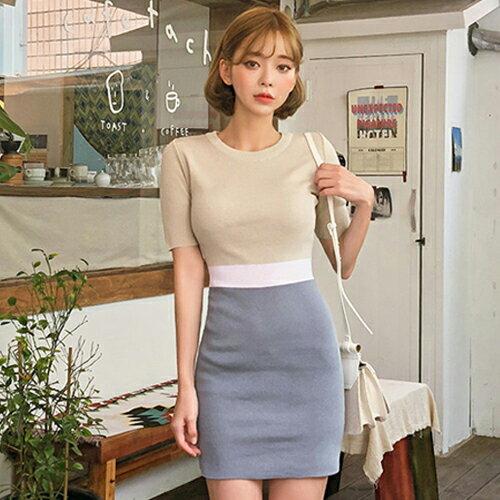 PS Mall 韓版撞色針織連身裙 短袖圓領包臀短版洋裝【T693】 0