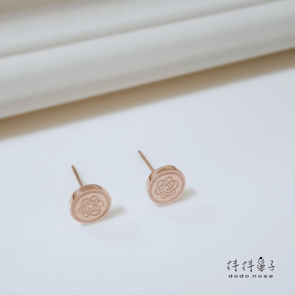 奢華雕刻玫瑰金耳環 4