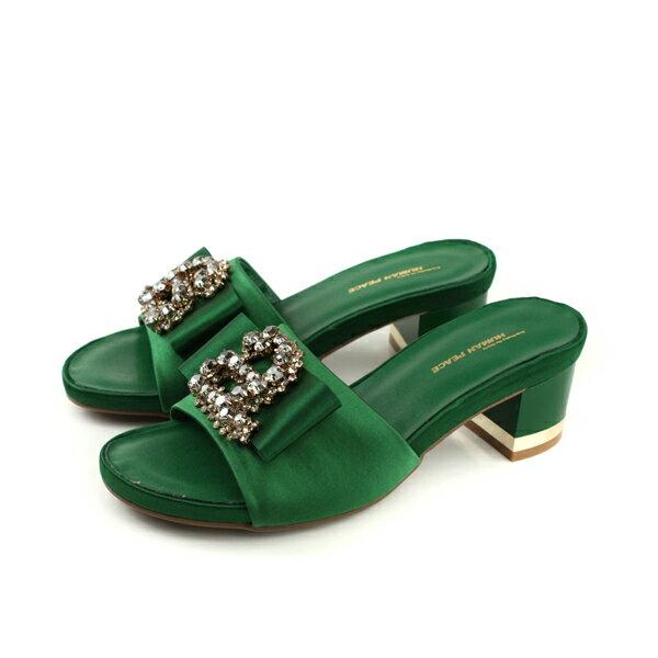 HUMANPEACE涼鞋拖鞋式粗跟低跟水鑽綠色女鞋065216HBno286