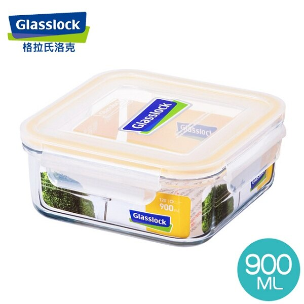 Glass Lock強化玻璃保鮮盒韓國原裝微波便當盒方型900ml-RP522-大廚師百貨