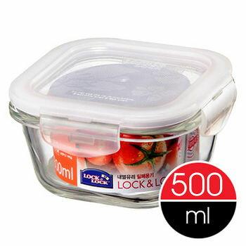 樂扣樂扣微波烤箱玻璃保鮮盒/便當盒方型500ml-LLG214-大廚師百貨